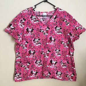 Disney Mickey Minnie Mouse Pink Heart Scrub Top 2X